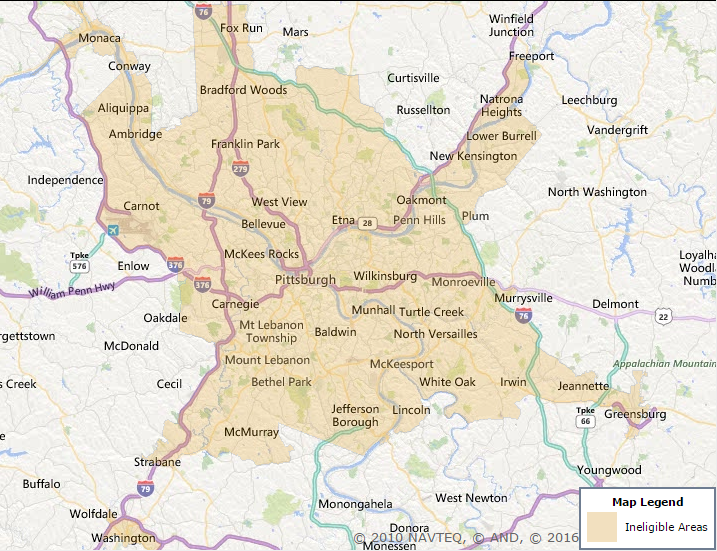 Allegheny County USDA Rural Development Mortgage Loan - Usda rural eligibility map